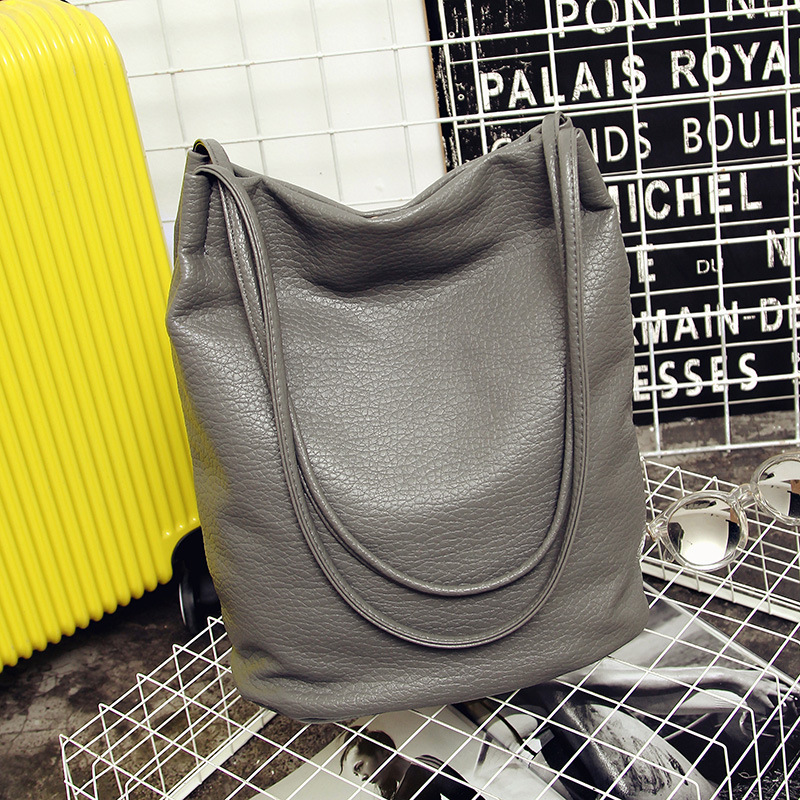 2018 Designer Women Leather Handbags Black Bucket Shoulder Bags Ladies Crossbody Bags Large Capacity Ladies Shopping Bag Bolsa