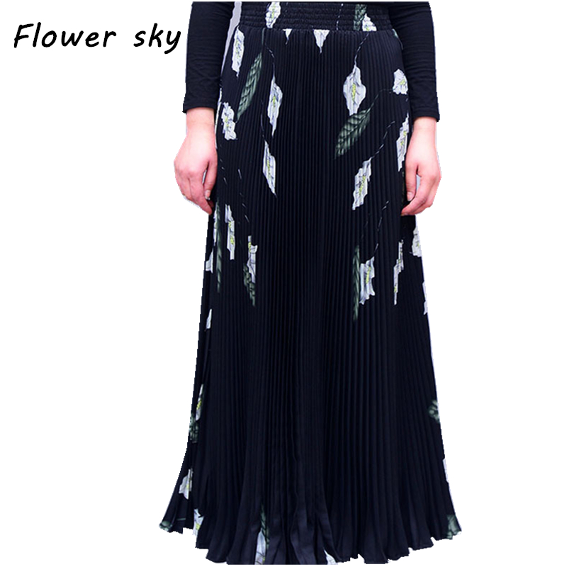 fac384190 2017 Women Maxi Long Skirt Elastic Waist Pleated Skirts Beach Boho Vintage  Summer Long Pleated Skirts