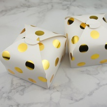 9*9*5cm 10pcs gold dot Chocolate cookie Paper Box Storage Boxes Christmas Birthday Party Gifts Packaging wedding favor box