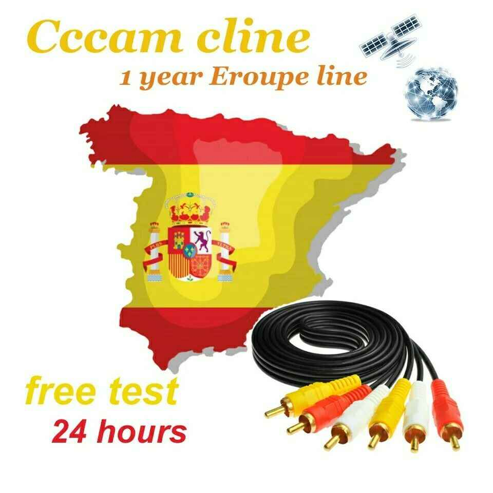 Europe CCCams for Satellite tv Receiver 6/7/8 lines WIFI FULL HD DVB-S2 Support Spain Portugal line 1 Year Stable cccam Server