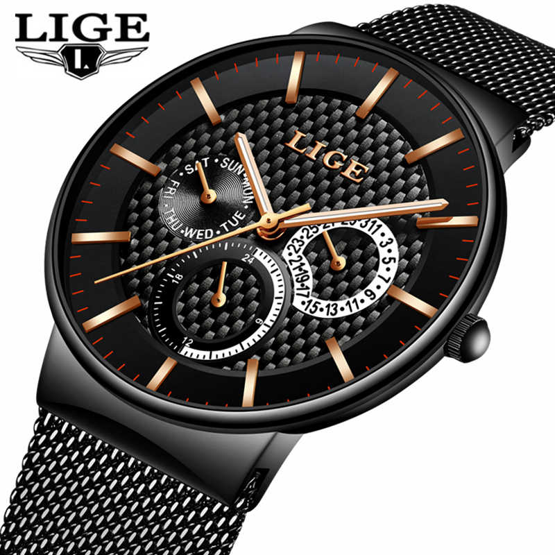 Mens Watches LIGE Fashion Top Brand Luxury Quartz Watch Men Casual Slim Mesh Steel Date Waterproof Sport Watch Relogio Masculino