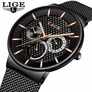 Image 1 - MensนาฬิกาLIGEแฟชั่นLuxury Quartzนาฬิกาผู้ชายCasual Slimตาข่ายเหล็กวันที่นาฬิกากันน้ำRelogio Masculino