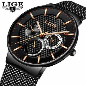 Image 1 - Mens Watches LIGE Fashion Top Brand Luxury Quartz Watch Men Casual Slim Mesh Steel Date Waterproof Sport Watch Relogio Masculino