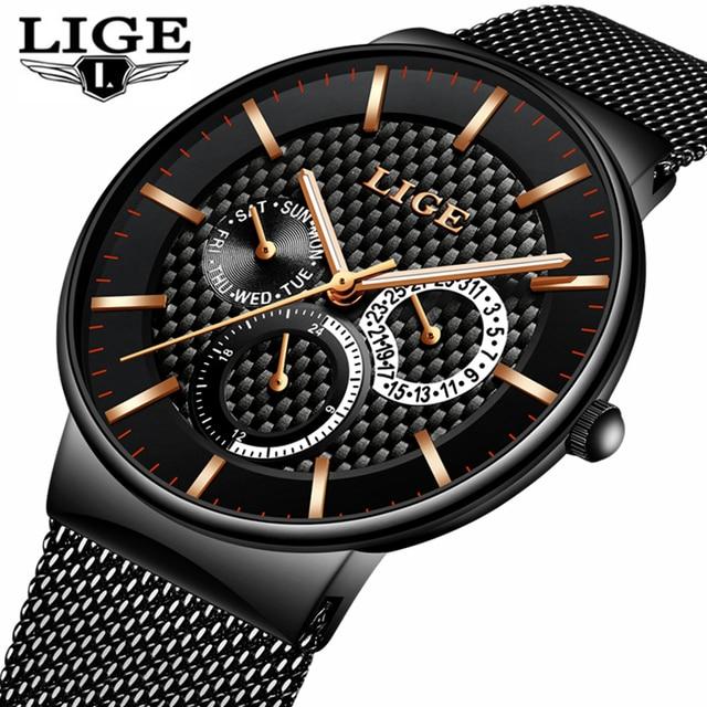 Mens Watches LIGE Fashion Top Brand Luxury Quartz Watch Men Casual Slim Mesh Steel Date Waterproof Sport Watch Relogio Masculino