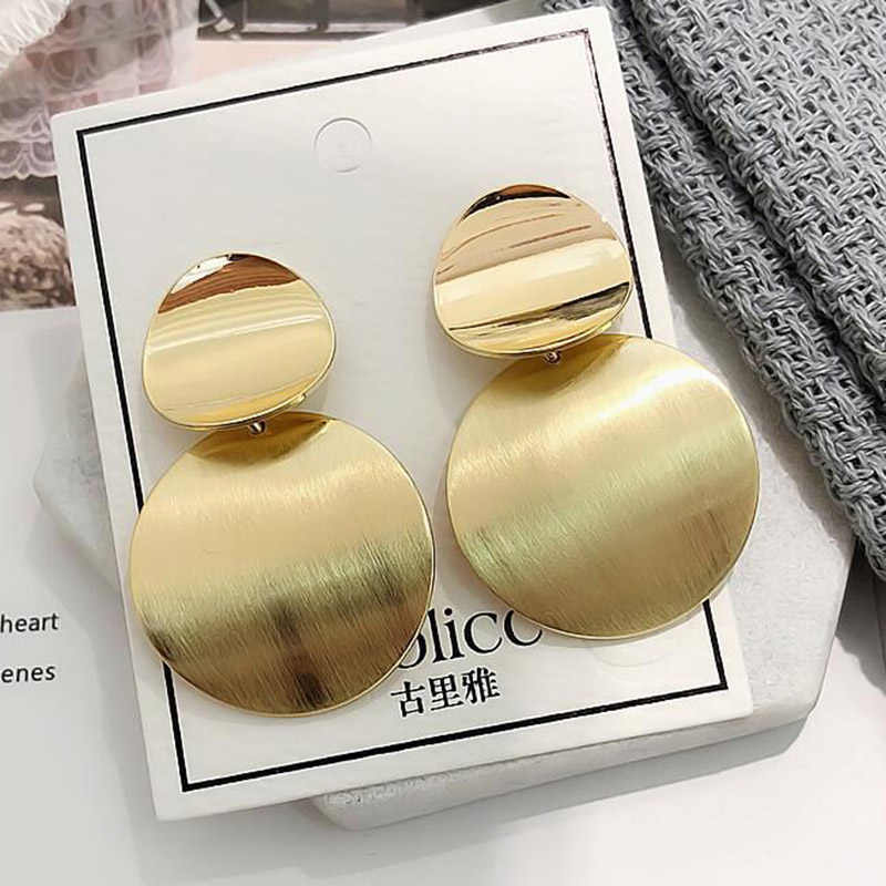 Fashion statement jewelry round metal geometric earrings oval gold silver pendants large earrings women's wedding party gifts A8