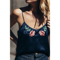 2017 LASPERAL Women Camis Sexy Ultrathin Strap Floral Tank Top Embroidery Vest Backless Loose Navy Blue