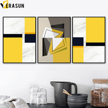 Modern Fashion Geometry Marble Yellow Wall Art Canvas Painting Nordic Posters And Prints Picture For Living Room Home Decor