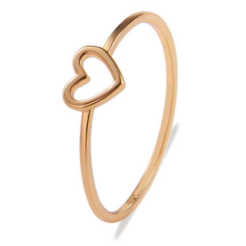 1 PC Women Ring Hollow Heart Rings For Couple Wedding Jewelry Simple Alloy Love Heart Ring Girls Fashion Jewelry Dropship Hot