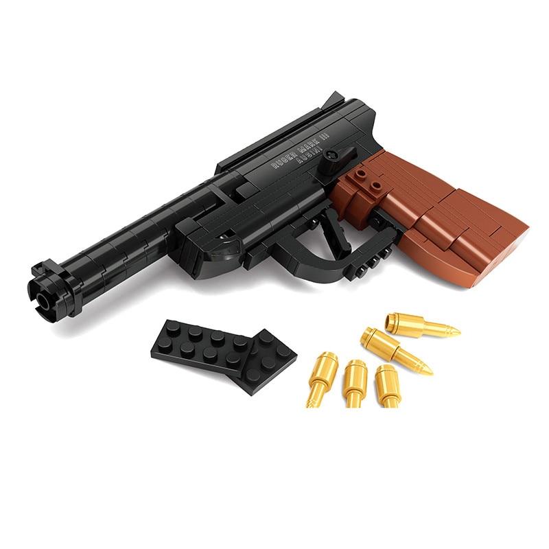 Фабрика за продажби Luger P08 пистолет GUN оръжие оръжие Модел 1: 1 DIY модел строителни блокове коледни играчки подарък съвместим с подарък