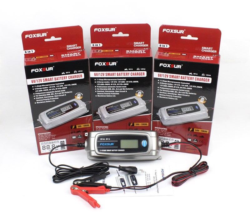 FOXSUR 12 V 4A 6 V 1A 11-stage Smart Chargeur de Batterie, 6 V 12 V EFB GEL AGM HUMIDE Batterie De Voiture Chargeur avec écran lcd et Desulfator - 5