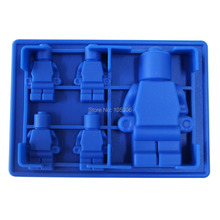 8x Silicone Robot Ice Mold Cream Tools Color RoyalBlue Tubs Cake Free Shipping