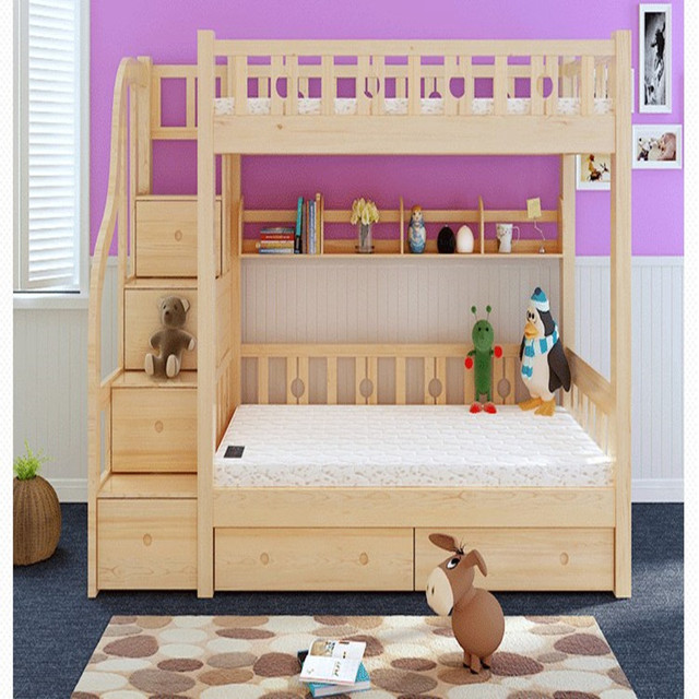 Cheap Wood Bed Double Bed Princess Bed Ladder Picture Storage