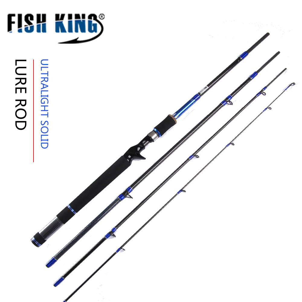 FISH KING Lure Fishing Rod 99% Carbon 4 Sections Lure Spinning Casting Stick Standard Accessories Baitcasting Lure Pole Carp HF fish king 99