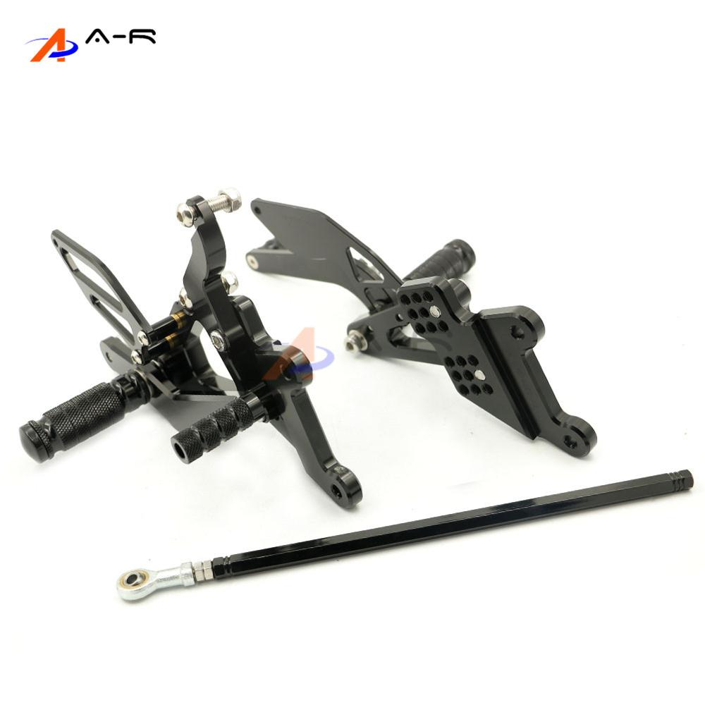 Black Motorcycle CNC Billet Adjustable Rearsets Footrest Foot Pegs Rear Sets for Yamaha YZF YZF R6 2003-2005 R6S 2006-2009 Racer free shipping motorcycle parts silver cnc rearsets foot pegs rear set for yamaha yzf r6 2006 2010 2007 2008 motorcycle foot pegs