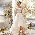 Мода Новый Высокий Низкий Свадебные Платья Sexy V Шеи Органзы Свадебные Платья с Бисером Пояса Кружева Vestido Де Novias