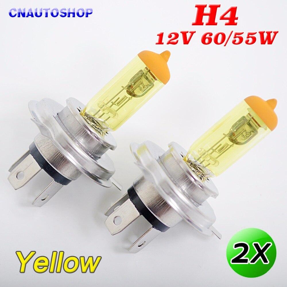 Yellow lamp base - H4 Halogen Bulb 12v 60 55w Yellow Glass 3000k Stainless Steel Base Auto Car Fog Lamp 2 Pcs