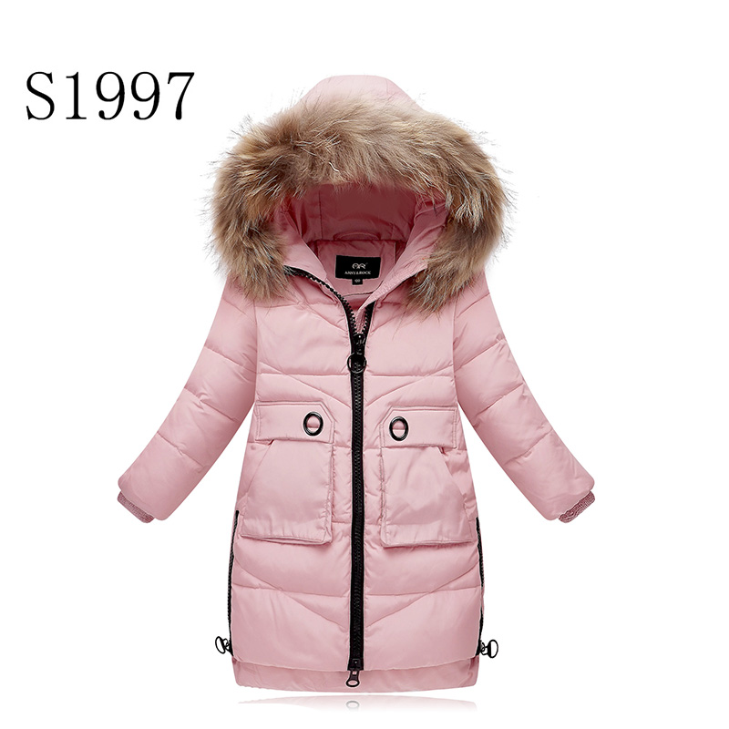 Warm Fur Collar Solid Winter Coat White Duck Down 5-14T Kid Winter Down Parkas Hooded  Long Down Thickening Coat Free Shipping 100% white duck down women coat fashion solid hooded fox fur detachable collar winter coats elegant long down coats