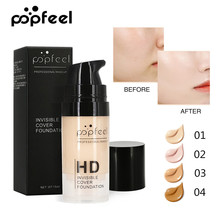 Popfeel Full Cover Liquid Foundation Cream Face Makeup Base Soft Matte Long Wear Oil Control Concealer Women