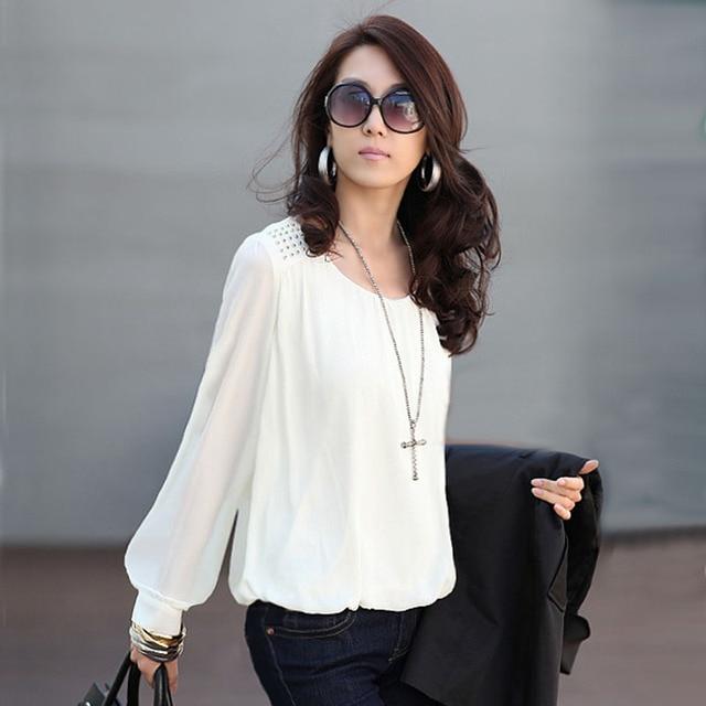 Mulheres Blusas de Chiffon Blusa blusas camisas y mujer Femme Camisa branca Roupas  Femininas chemise femme bce44df54c4