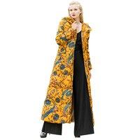 כותנה שטח מודפס ארוך נשים מעיל חורף גודל Parka פלוס X צהוב חם מעיל ארוך אופנה להאריך ימים יותר עם פקק DL1040