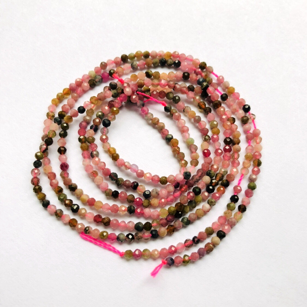 """3MM MULTI COLOR TOURMALINE GEMSTONE MICRO FACETED ROUND LOOSE BEADS 15/"""""""
