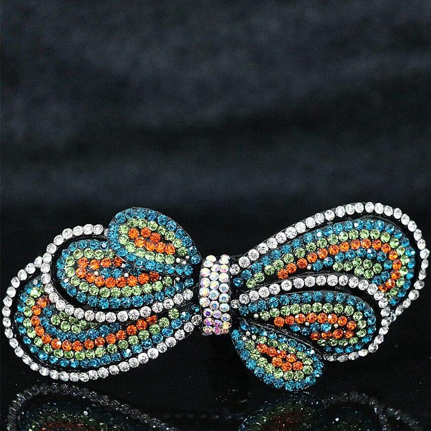В богемном стиле 17 форма заколки со стразами цветок лук женщин заколка прическа Головы Клип головные уборы аксессуары B1256