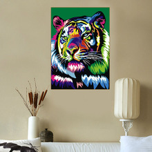 Colorfull Tiger Painting By Numbers On Canvas DIY Animal Digital Picture Coloring Home Decor Child Gift Poster