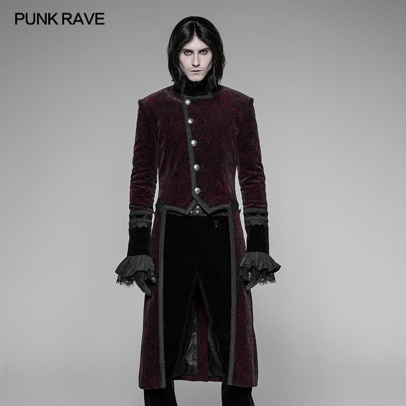2018 new design PUNK RAVE gothic swallow tail red coat for men WY 942