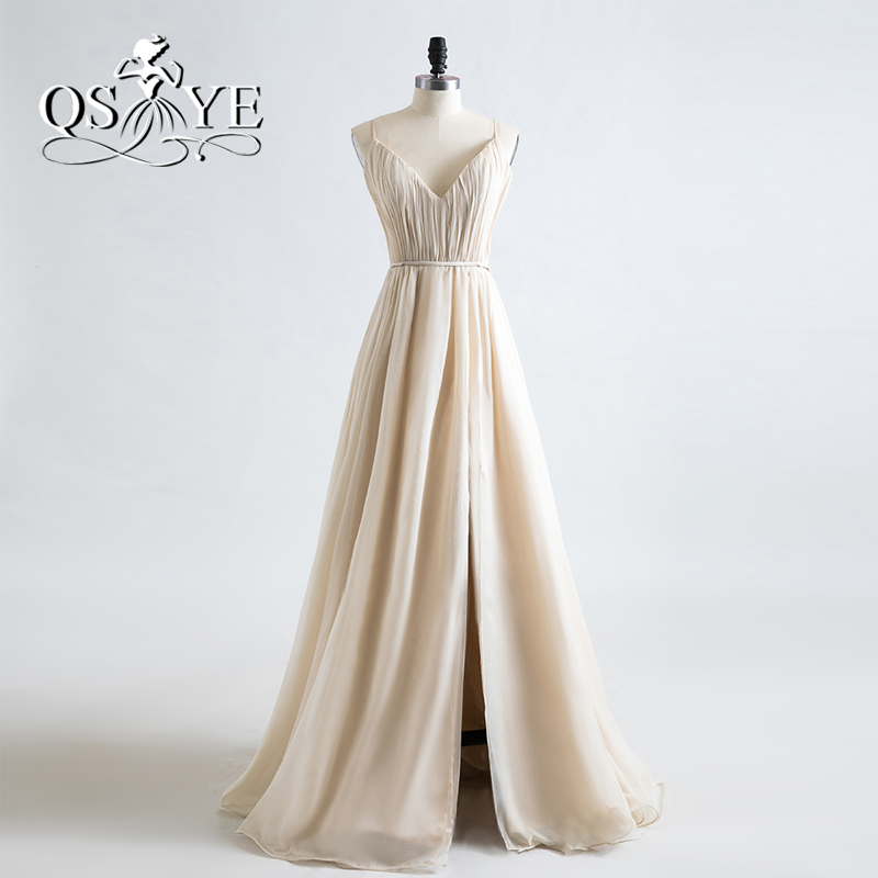 New Champagne Chiffon Long   Prom     Dresses   2017 Spaghetti Straps V Neck Pleats with High Slit Formal Evening Party Gown