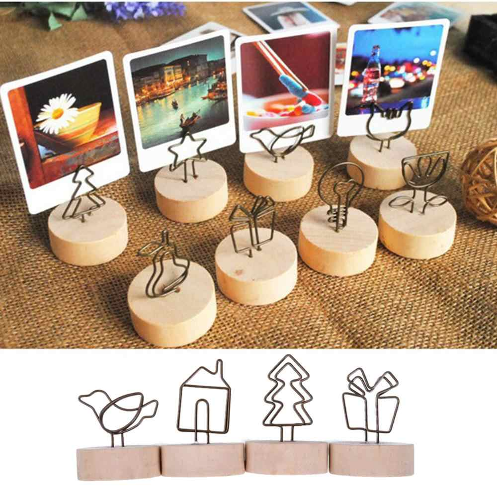 Creative Round Wooden Iron Photo Clip Memo Name Card Pendant Furnishing Articles Picture Wall Frame