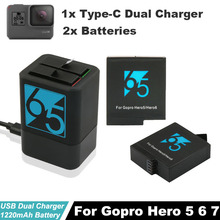2x Hero5 Bateria Rechargeable Hero7 battery + Storage Dual Battery Charger For GoPro Hero6 Black Action Camera Accessories