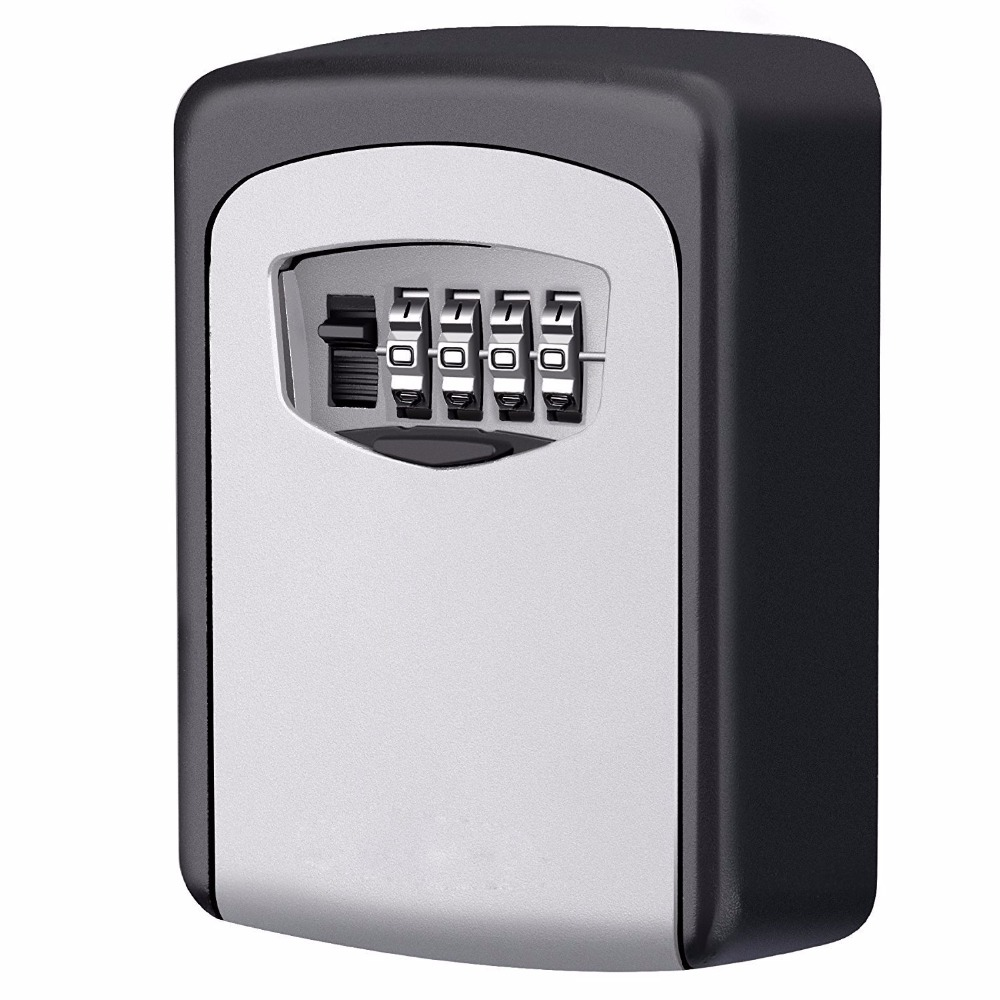 Key Storage Lock Box, 4-Digit Combination Lock Box, Wall Mounted Lock Box, Wall Mounted Key Safe Box/Security Key Holder
