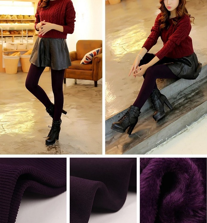 CHRLEISURE Warm Women's Plus Velvet Winter Leggings Ankle-Length Keep Warm Solid Pants High Waist Large Size Women Leggings 19