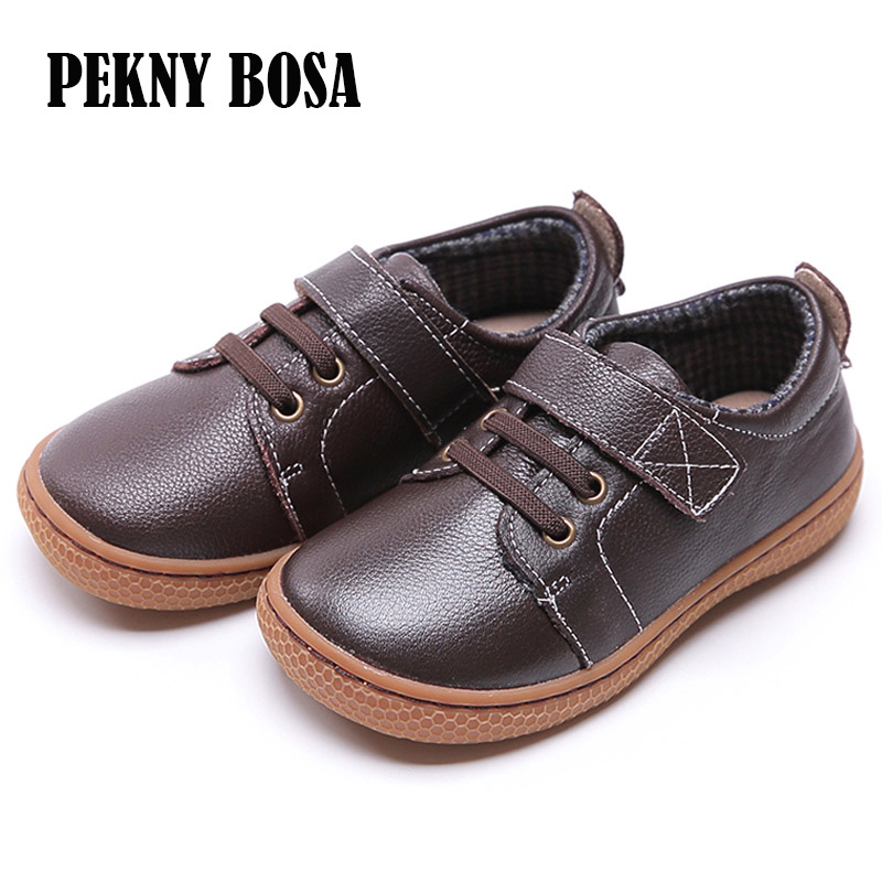 Genuine Leather kids shoes Autumn children casual boys shoes girls leather shoes boys sneakers coffee brown shoes size 25 30 in Leather Shoes from Mother Kids