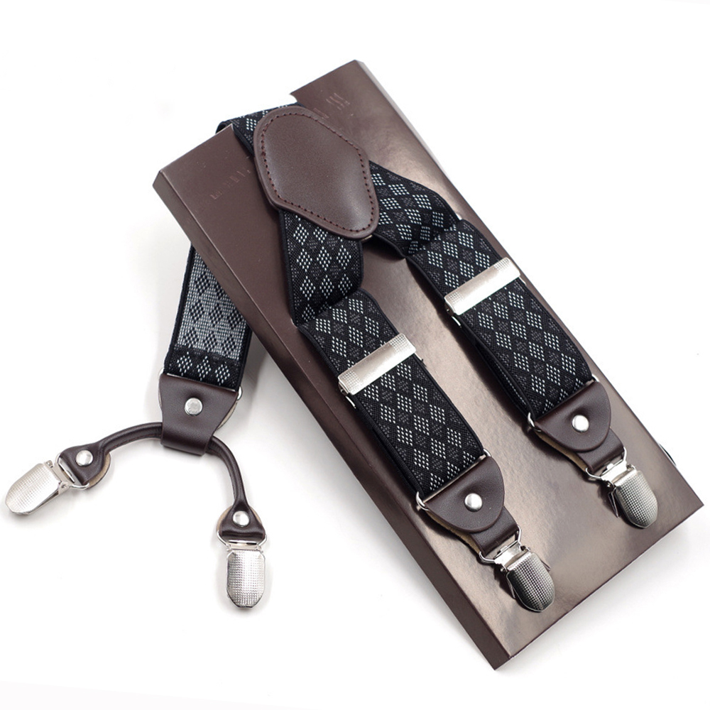 ac6fa7659ecfa JIERKU Suspenders Man s Braces New 4Clips Suspensorio Leather Trousers Strap  Father Husband s Gift Tirantes Hombre