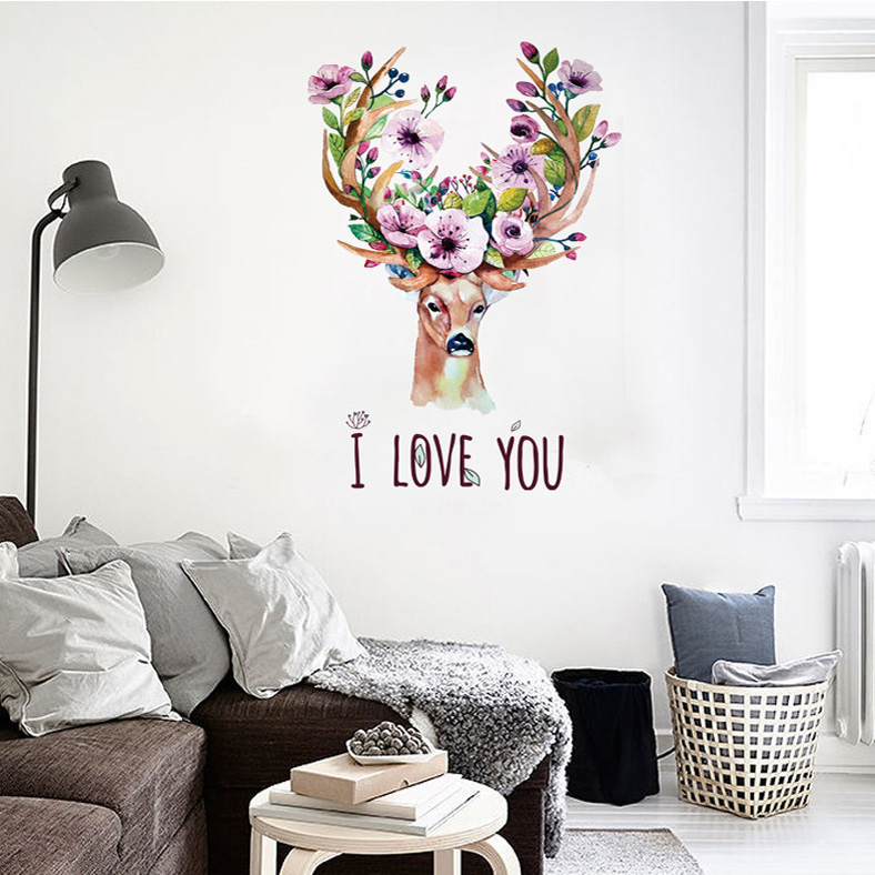 new nordic style flower deer diy wall sticker for kids rooms bedroom