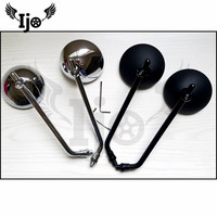 top quality round silver black metal chrome moto mirror for harley motorcycle rearview mirror universal motorbike side mirror