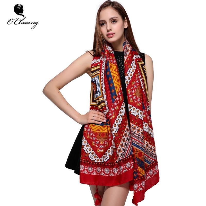 O CHUANG Fashion Red Scarf Women Shawl Bohemian Style Big Size 180*100CM Long Tassels Winter foulard Sjaal Hijab Scarves Woman