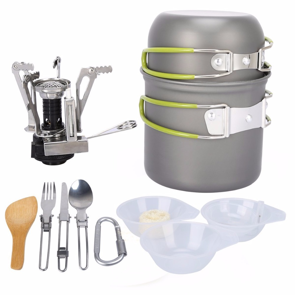 New 12PCS Portable Outdoor Cooking Tool Picnic BBQ Pot Pan Plate Cup Set Stainless Steel Tableware Cutlery Camping Cookware Set