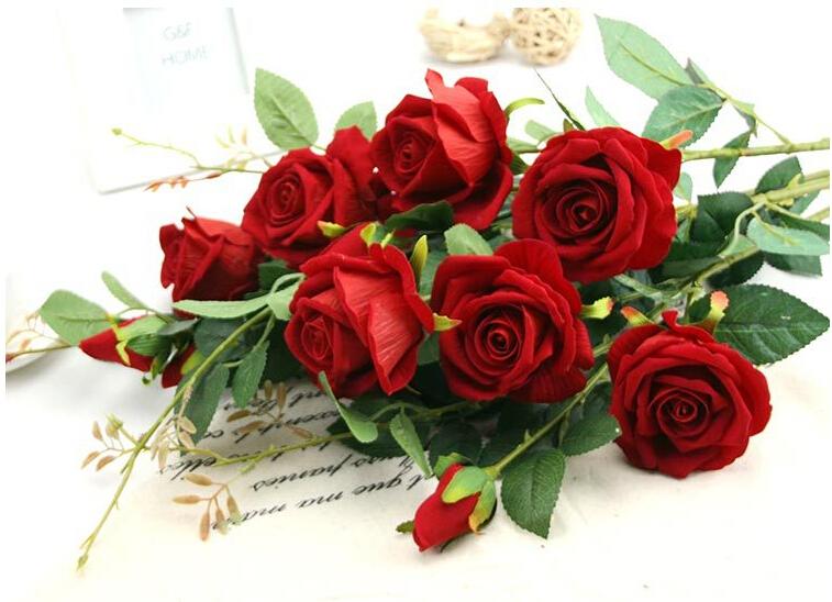 artificial de rosa de flores para el hogar fiesta de navidad