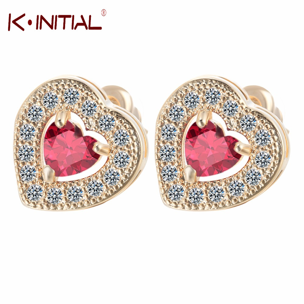 Kinitial 10pair Fashion Gold Silver Plated Red Heart Zircon Pendant Stud  Earring For Women Aaa Clear