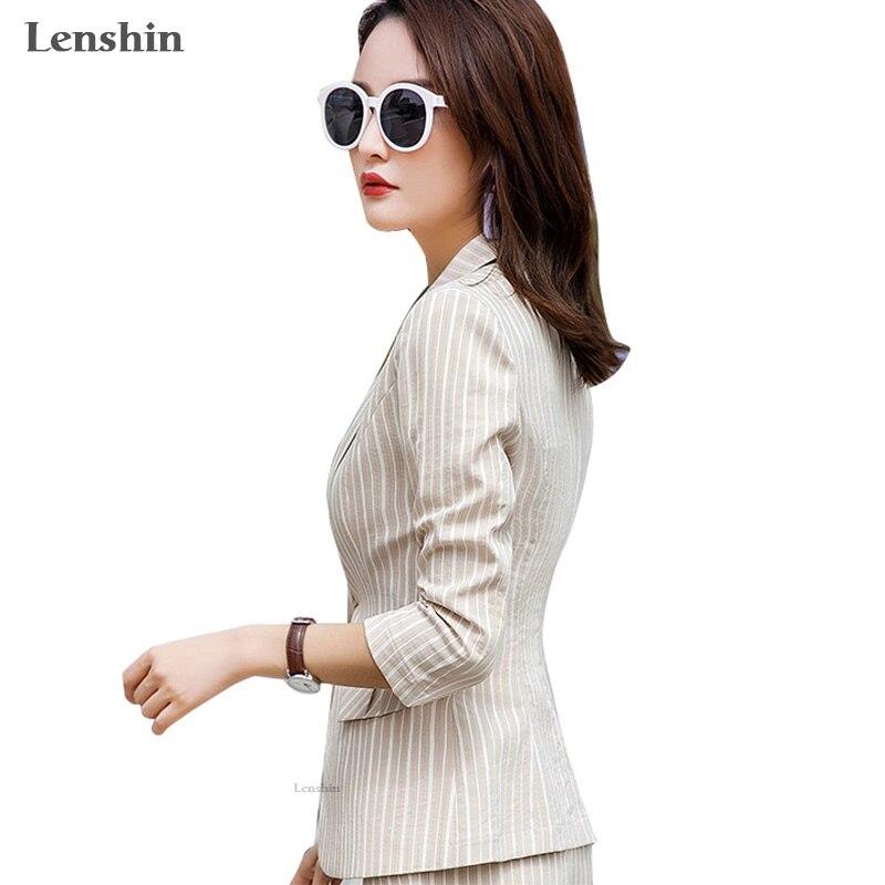 Lenshin Striped Blazer For Women Summer Wear Female Casual Style Breathable Coat Half Sleeve Jacket Single Button Tops Outwear