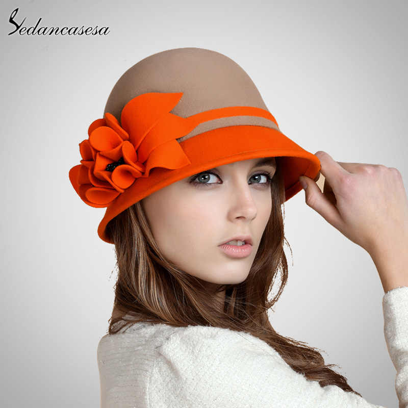 22306784142 ... Sedancasesa 2019 New Fashion Autumn Winter England Style Vintage Woman  Fedora Hat Felt Caps Cloche Hats ...