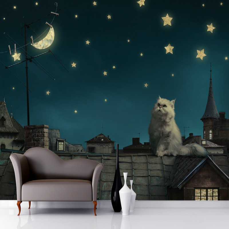 Buy mural cat roof wallpaper mural 3d wallpaper for wall 3d children room large - Leuchttapete kinderzimmer ...