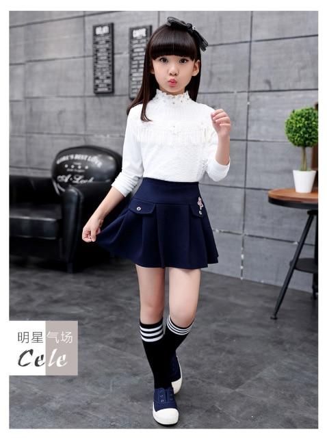e931f5ec0a0c Blue Black 2018 Spring Autumn Summer School Girls Skirts Children Clothes  Baby Tutu Girl mini