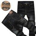 Calças de Brim dos homens de Alta Qualidade Soft Comfort Algodão Lavagem Black Stretch Denim Calças Jeans Calças 28 35 36 38 40 42