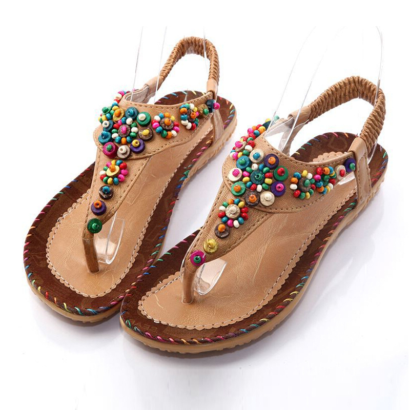 Hot Fashion Flat Sandals Ankle T-strap Fashion Trend Sandals Bohemia Flat Heel Beaded Female shoes size 5 timetang flat sandals t strap fashion trend sandals bohemia national flat heel beaded female shoes sale women shoes