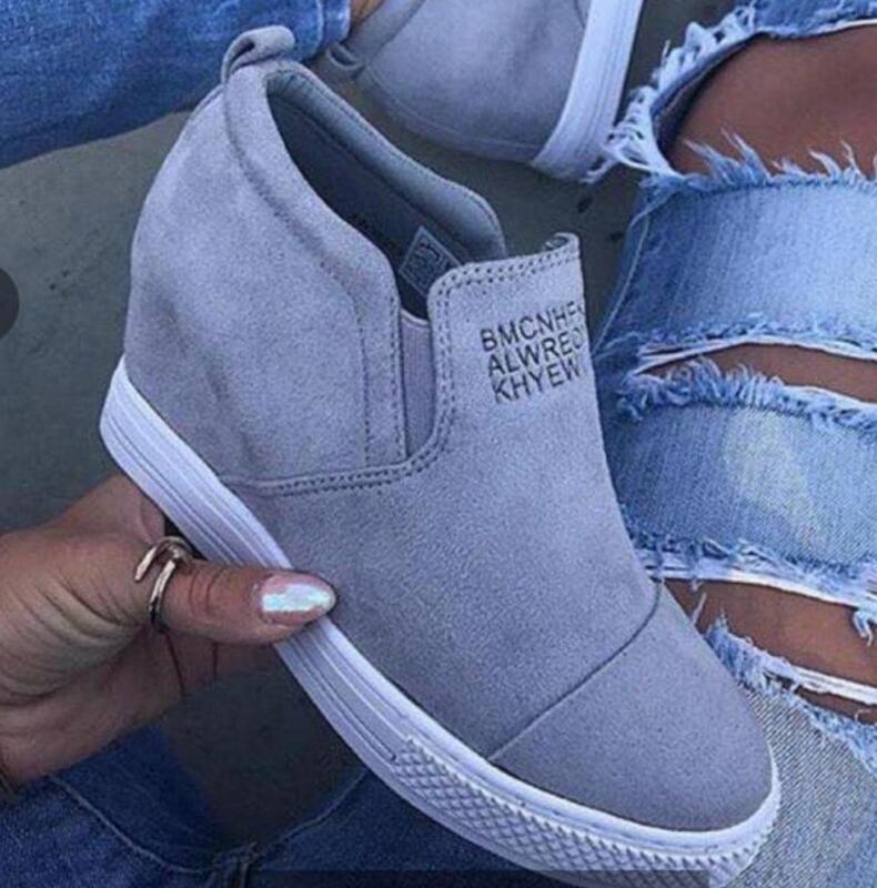 Las mujeres tobillo botas de cuña zapatos de mujer zapatos de tacón alto bombas altura incleasing mocasines sapato femenino zapatos de mujer casual HT0120