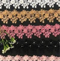 5yard 3D embroidery flowers rhinestone lace Trim for clothes Lace Ribbon Decorative Trimming for curtain DIY Sewing Accessoriess