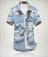 Plus Size 2017 Brand Men Jeans Shirt Cotton Short Sleeve Shirts Cowboy Camisas Men S S